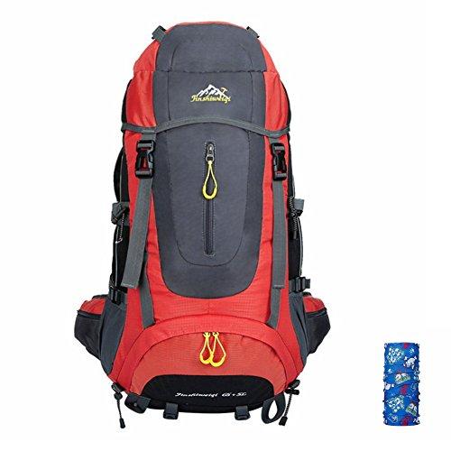 T & Y Unisex Bergsteigen Rucksack groß Kapazität Wandern Reisen Rucksack 60L + 5L rot - rot
