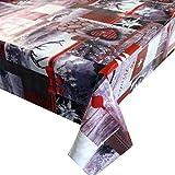 Wachstuch Breite & Länge wählbar - Rentier Herzen Weihnachten - ECKIG 140 x 160 bzw. 160x140 cm abwaschbare Tischdecke Wachstücher Gartentischdecke
