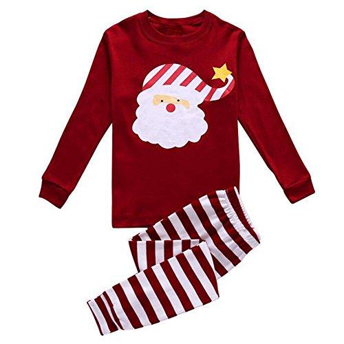 Unisex Kinder Weihnachten Haus Kleid, Meedot 2 Stück Baumwolle Nachtwäsche Langarm Pjs Pyjamas Set Santa Red 4 Year (Jungen Pyjamas 2 Pjs Stück)