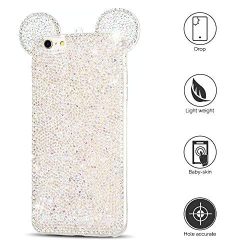 Coque iPhone 6 / 6S (5.0 pouce) , Bling Diamant Modèle TPU Case Noir Crystal Mignon Mickey Oreille Étui de Protection Flexible Soft Slim Souple Silicone Cover Anti Choc Ultra Mince Couverture Bumper C Blanc