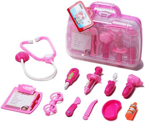 Unilove Arztkoffer Set Doktor Spielzeug Arzt Spielset für Kinder Arztköfferchen Set Doktorkoffer Spielzeug (Rosa)