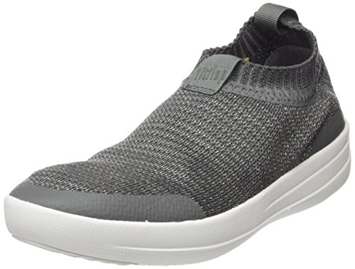 Fitflop Uberknit Slip-On Sneakers-Metallic, Sneaker a Collo Alto Donna Multicolour (Charcoal/Metallic Pewter)