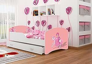Kinderbett Spielbett Babybett 140x80 / 160x80 Cm Für Jungen Und Mädchen Mit  Matratze + Schublade +