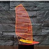 Erstaunliche 3D LED Lampe Schiff Segelboot Motion Shape LED Nachtlichter mit 7 Farben Ma
