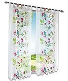 BAILEY JO 1er-Pack Gardinen mit Frisch Vögel und Blumen Design Vorhang Transparent Voile Vorhänge