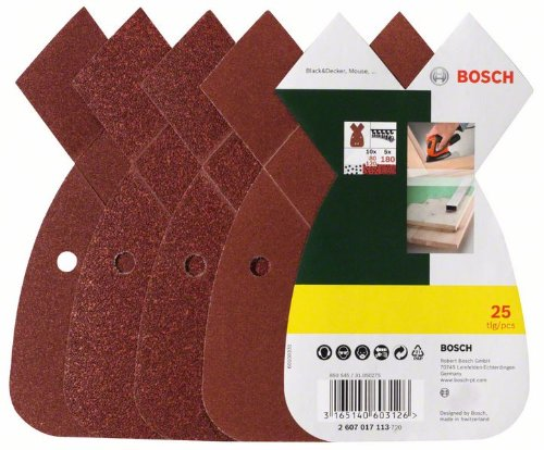 Bosch 2607017113 Set de 25 abrasifs pour Ponceuse Mouse Grains 80/120/180