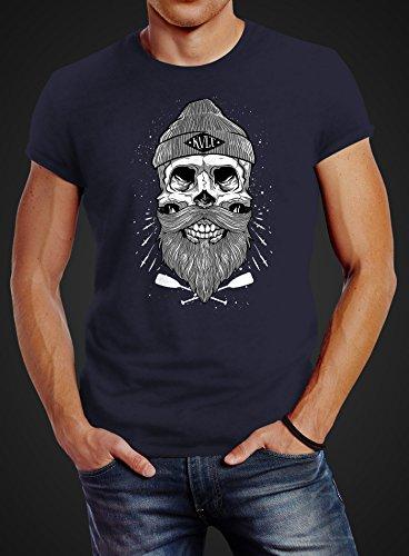 Neverless Herren T-Shirt Captain Skull Beard Totenkopf Bart Kapitän Slim  Fit Navy ...