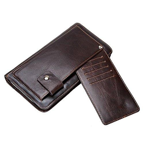 Obere Pick (Gendi Herren Clutch Wallet mit Multi-Kartenhalter 100% echtes Leder Herren Geldbörsen große lange Kupplung männliche Kupplung Geldbörse (Kaffee))