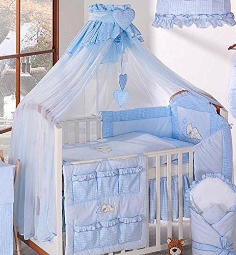 Baby baldacchino/zanzariera per culla, 480cm + Supporto/Rod (a quadretti blu)