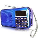 Radio FM SD USB MP3 PORTÁTIL Recargable PRUNUS con BATERÍA DE Gran Capacidad (reproducciones largas 30 Horas) con Linterna de Emergencia, Memoriza emisoras automáticamente(Sin Manual)