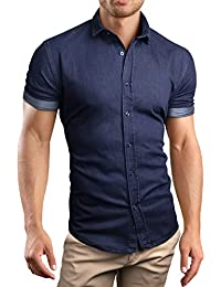 Grin&Bear coupe slim chemise denim jean homme, manches courtes, SH690