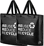 BikeZac® Clip-On EINKAUFS-FAHRRADTASCHE | Einseitige Einkaufstasche | Gepäckträgertasche | Faltbar | Wasserabweisend | Trageschlaufen | Ökologisch, BikeZac:Black Recycle 2 x