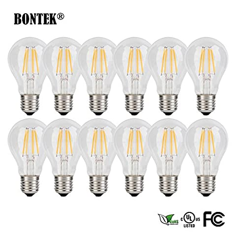 bontek® Baumwollmusselin Vintage Edison Filament LED Leuchtmittel klar A60–E27Schraube Base 2Watt ersetzt 20Watt Glühbirnen–Warm Weiß nicht dimmbar -