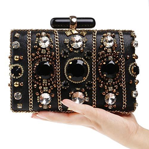 Nuanxin Damen Perlen Tasche, Party Abend, Clutch Wallet (Farbe: Schwarz) U10 (Color : Black)