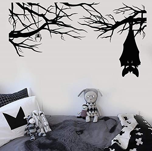 Vinyl Wandtattoo Cartoon Gothic Spinnenschläger Auf Ast Halloween Aufkleber Home Wohnzimmer Fenster Aufkleber 57 * 105 cm (Halloween Wetter Auf)