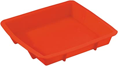 Primeway Silicone Bakeware Square Cake Pan Mold, 9 Inch, Red