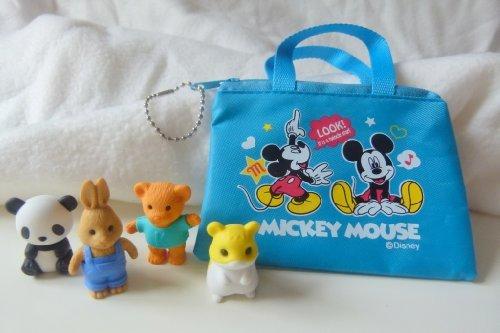 Iwako Panda, Hase, Teddybär und Hamster japanischen Radiergummis mit blauer Reissverschluss Tasche