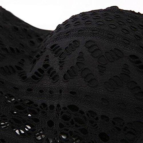 365-Shopping® Damen Klassisch Einteilig Spitze Badeanzug Schwimmanzug mit Abnehmbarem Nackenband Einfarbig Schwarz