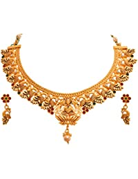 Jfl - Jewellery For Less Traditional Ethnic One Gram Matt Gold Plated Mahalaxmi Peacock Designer Necklace Set...
