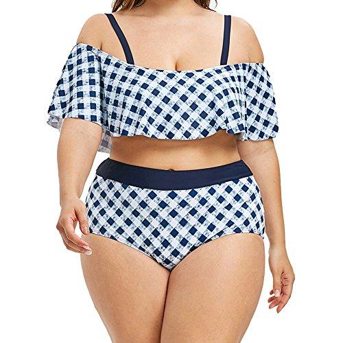 iYmitz Damen Badeanzug, Sommer Plus Size Bikini Set Bademode Drucken Push-Up Gepolsterter Karierter Tankini Beachwear(Blau,EU-42/CN-2XL)