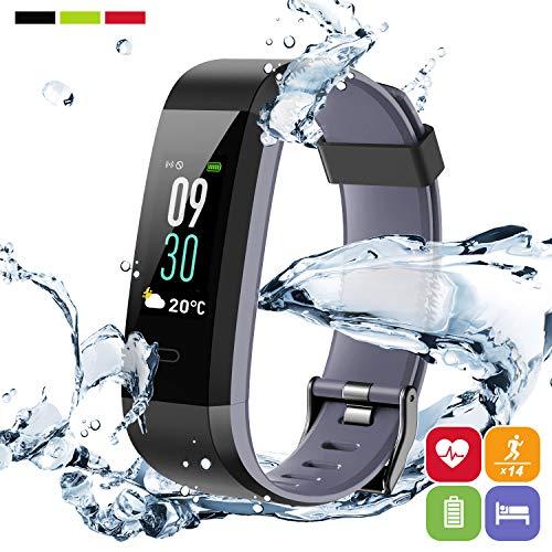 Fitness Tracker d'Activité PORTHOLIC, Montre Connectée ecran coloré,Podomètres avec Cardiofréquencemètre,IP68 Sport Bracelets énergétiques,compatible