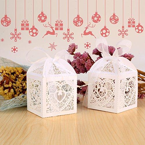 GHB 100pcs Süßigkeit Kästen Geschenkboxen Hochzeit Bonbons Boxen für Partys Geschenk Taufe Hochzeit Geburtstag usw Dekorpapier Weiß