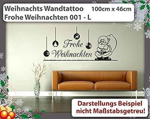 Weihnachts Wandtattoo Frohe Weihnachten 001 L - 100cm x 46cm - 23 mögliche Farben