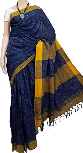 tant ghar Women's Cotton Bengal Handloom Khadi Saree with Running blouse (KC-01J)
