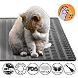Doppio Strato Tappetino Lettiera per Gatto, Impermeabile Tappeto di Atterraggio Cat Litter Mat Facile da Pulire Non Tossico (30 * 23 in, Grigio)