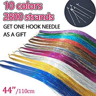AllBeauty 44ââ'¬ï¿½ Hair Tinsel 10 Colors 2800 Strands Sparkling Shiny Hair Flairs Extensions Party Highlights Glitter Extensions Multi-Colors Hair Streak Synthetic Hairpieces (10 Colors/Pack)