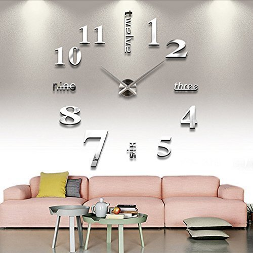 Chinatera Modern Mute DIY Large Wall Clock 3D Sticker Home Office Decor Gift (silver) by Chinatera