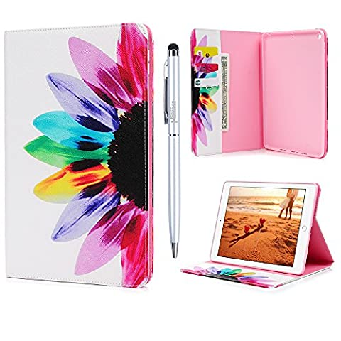 New iPad 9.7 Case 2017 MAXFE.CO Premium PU Leather Wallet Cover Case Shockproof Flip Cover Protective Stand Case for New iPad 9.7 2017 with Auto Wake/ Sleep Function- Colorful