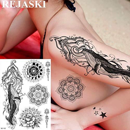 phin Black Mehndi Temporäre Tattoos Aufkleber Mandala Blume Waschbar Tatoos Für Männer Frauen Body Art Benutzerdefinierte ()