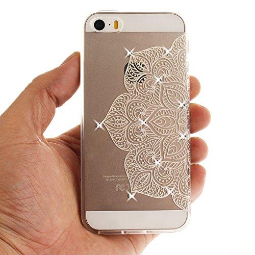 Case iPhone 5S , Coque iPhone SE , Anfire Étui Souple Flexible en Premium TPU Apple iPhone SE / 5S / 5 Motif Azteque Ultra Mince Gel Silicone Cas Bling Bling Strass Clair Transparent Housse de Protect Grand Lotus Fleur Blanc
