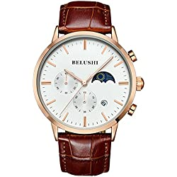 Mens Daytime And Night Display Watches Full Genuine Leather Male Waterproof Casual Dress Sport Wrist watches White