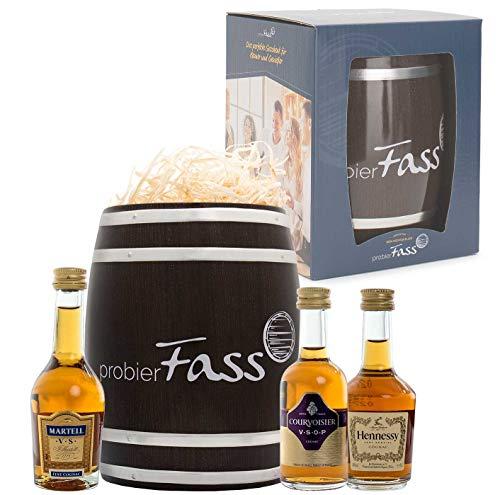 probierFass Cognac Geschenk | 3 Cognac Klassiker (3 x 0.05 l) verpackt in einem originellen Fass |...
