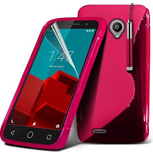 Spyrox ( Black ) Vodafone Smart Prime 6 Hülle Abdeckung Cover Case schutzhülle Tasche Stylish Fitted Tough Survivor Fest Rugged Shock Proof Heavy Duty Case W / Back-Stand, LCD-Display Schutzfolie, Pol Wave Gel+ Stylus ( Hot Pink )
