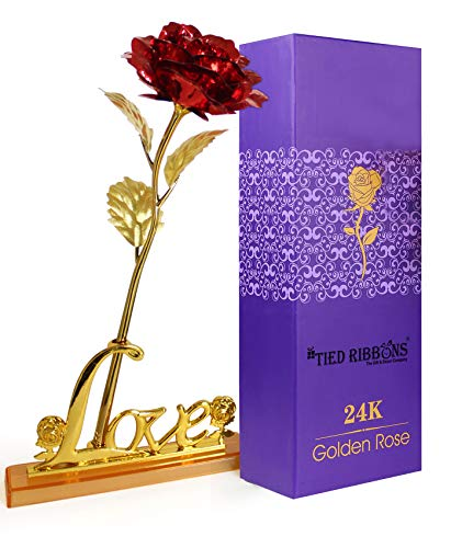 Tied Ribbons 24K Gold Plated Rose(Red Or Golden Based On Availability)