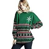 TianWlio Damen Langarmshirt Bluse T-Shirt Tops Frauen Herbst Winter Schneeflocke O-Ausschnitt Tops Langarm-Sweatshirt Pullover Bluse Tops