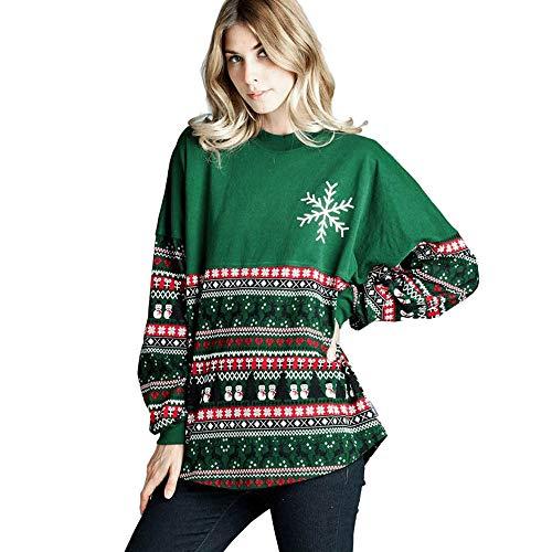 Mymyguoe Damen Weihnachten Pullover Xams Frauen Schneeflocke O Neck Tops Langarm Sweatshirt Pullover...
