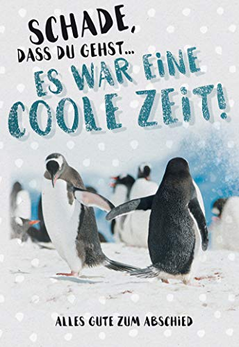 Abschied, Abschiedskarte, Karte zum Abschied, 17,1 x 11,7 cm, Klappkarte inkl. Umschlag, Motiv: Pinguin