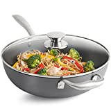 VonShef Hard Anodised Wok 28cm With Non-Stick Interior, Induction Safe