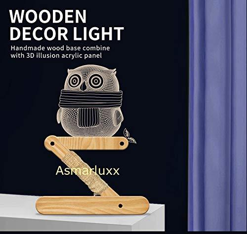 Base in legno Illusion Gufo leggero fatto a mano Pannello acrilico pieghevole paralume flessibile, può essere utilizzato per la decorazione della scrivania Regali di compleanno