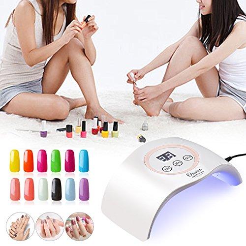 Ovonni Lámpara de LED UV profesional con secador de Uñas  Sensor automático incorporado  3 Tipos de controles de tiempo  Esmaltes de Gel  Conveniente  Regalo  Viaje  Salón  Perla Blanco / Rosa