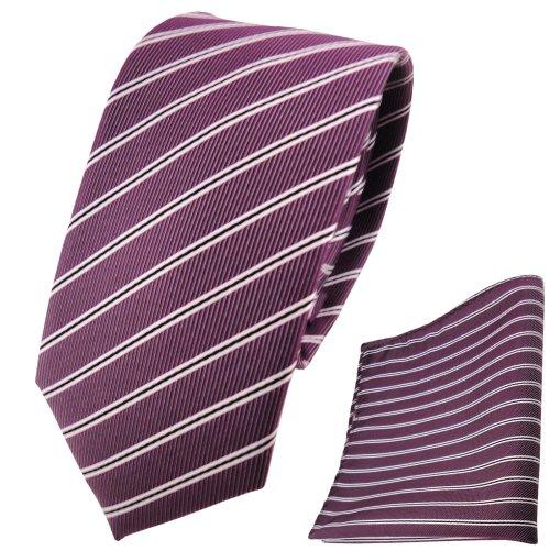 TigerTie schmale Designer Krawatte + Einstecktuch pflaume violett silberweiß schwarz gestreift