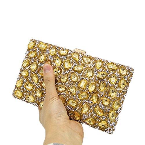 Nuovo Borsa Delle Signore Signore Diamante Borsa Colore Strass Foratura Calda Borsa Da Sera Mini Borse Da Banchetto Gold