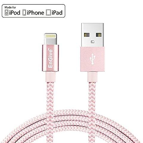 Lightning Kabel [Apple MFi zertifiziert] EnGive 2m Apple Datenkabel LEBENSLANGE GARANTIE Verbindungskabel USB Kabel mit Nylon umflochtenes verwicklungssicheres USB-Sync-Kabel Ladekabel für Apple iPhone 7 / 6S / 6S Plus / 6 Plus / 6 / 5s / 5SE / 5, iPad Air / mini, iPad 4th generation, iPod touch 5th generation, und iPod nano 7th generation