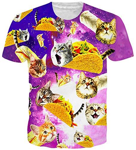 ze T-Shirt 3D-Muster gedruckt lässig Grafik Kurzarm Tops T für Frauen Männer XL ()