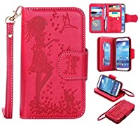 Galaxy S4 Case, KKEIKO® Galaxy S4 Wallet Case [with Free Tempered Glass Screen Protector], PU Leather Flip Cover with Card Slots, Hand Strap and Stand, Wallet Book Style Holster Case with Shock-Absorption Cover for Samsung Galaxy S4 (Red)