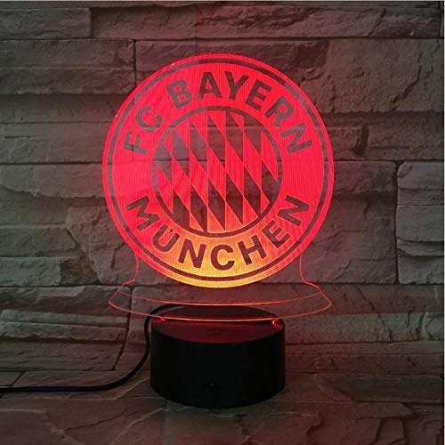 Fc Bayern München Fußball Team Club Logo Usb 3D Led-Nachtlicht Jungen Kind Kinder Fans Geburtstagsgeschenke Fußball Schreibtischlampe Schlafzimmer -